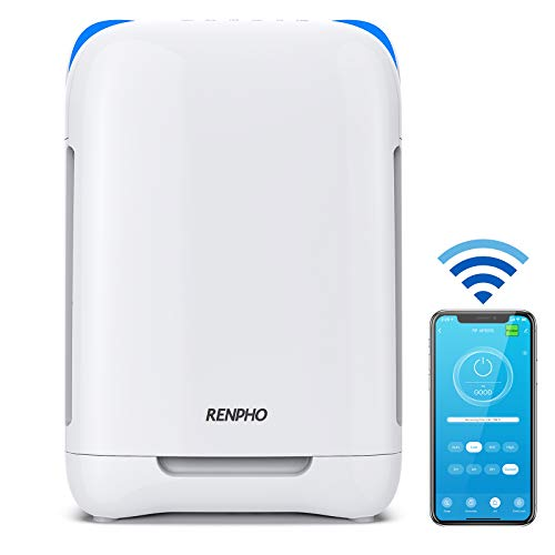 RENPHO Air Purifier for Home Smart WiFi H13 HEPA Air Filter for Allergies and Pets, Quiet Air Purifiers for Large Room 356 SQ.FT, Eliminate Germs Smoke Odor Mold, Ozone Free